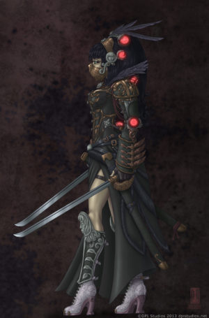 A female Asian Steampunk warrior holding two ornate swords