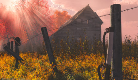 Sunrise over an abandoned barn. Someone left their Hat and samurai sword case behind.