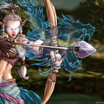 A female elven archer with magical dragon arrow.