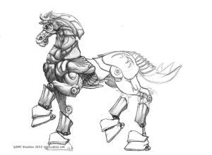 The original Iron Horse line art by Embrio