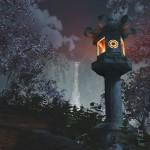 3D render of a Japanese lantern at dusk.