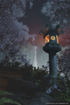 3D render of a Japanese lantern at dusk.