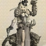 Lady Ravendale is a digital painting of a Steampunk adventurer and her clockwork panther.