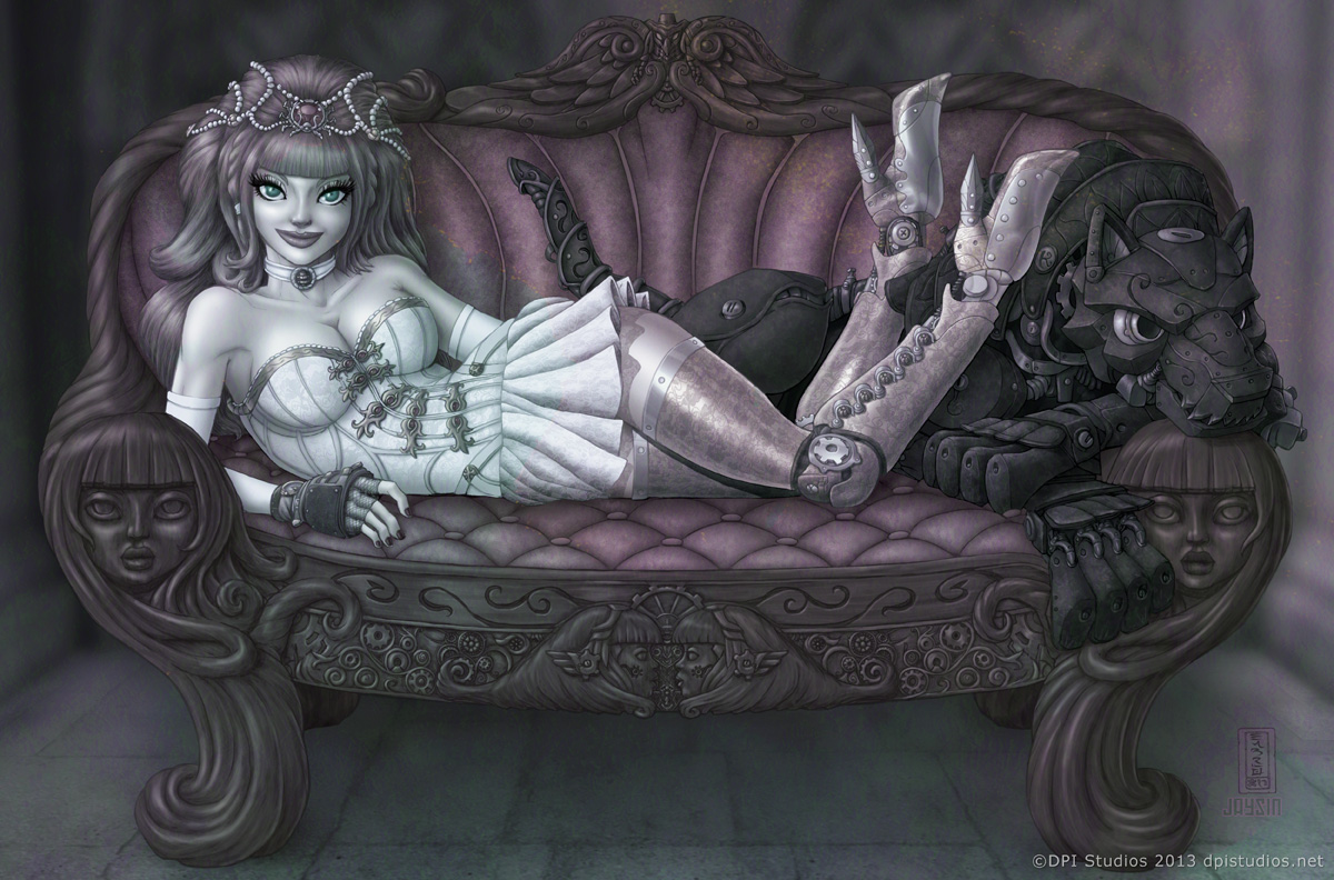 A Steampunk woman reclining on a couch with her mechanical dog.