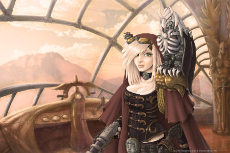 A Steampunk girl and her mechanical bird on an airship.