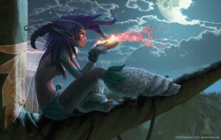 A digital painting of a moonlight fairy.