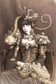 Classic portrait of a Steampunk lady and her mechanical cat