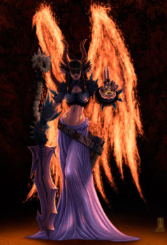 A woman demon with wings of fire.