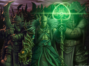 A necromancer and his undead army.