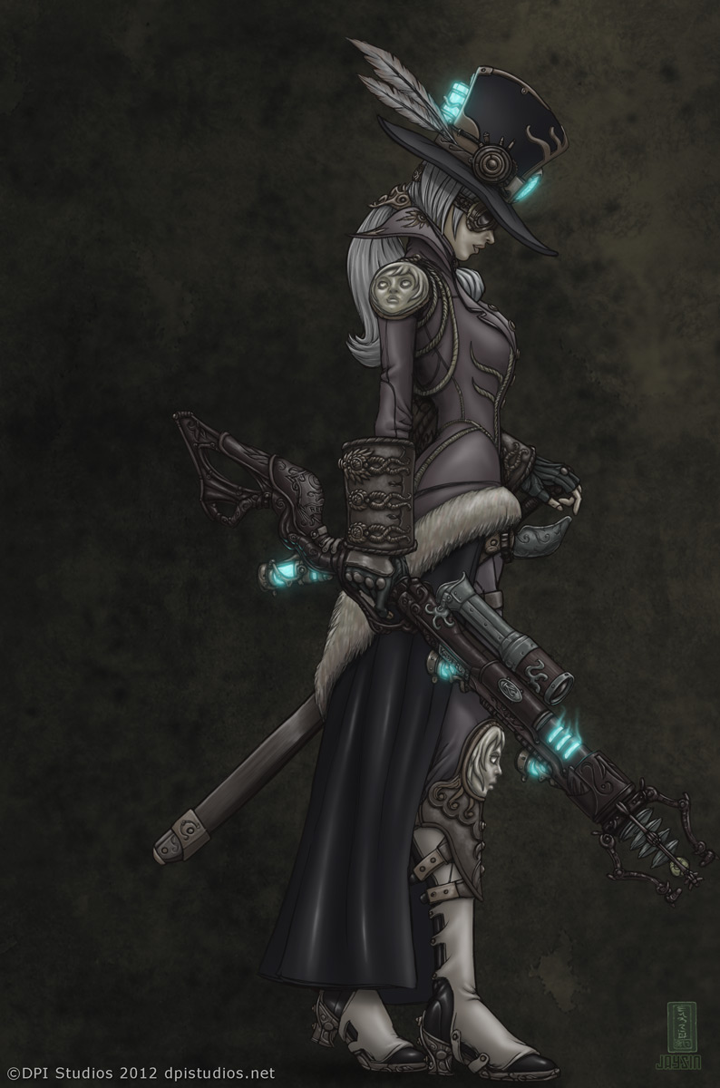A steampunk woman holding an ornate steam punk rifle