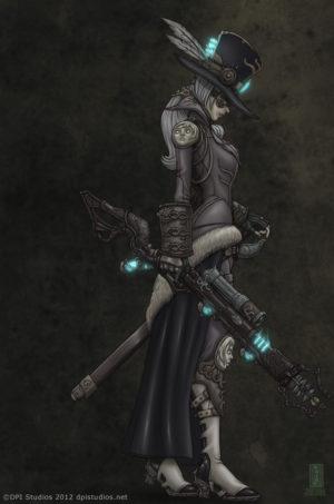 A steampunk woman holding an ornate steam punk rifle