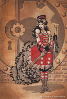 A mixed media hand colored Steampunk portrait