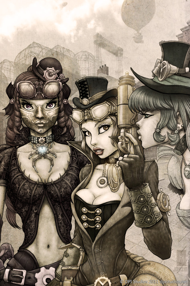 Three Victorian steampunk girls.