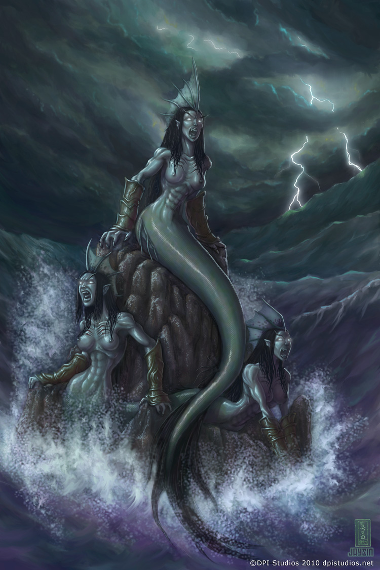 Sirens (not mermaids) in a storm at sea.