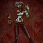 A zombie girl holding a severed arm