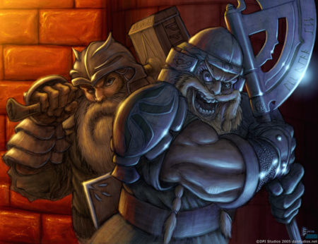 An illustration of two maniacal dwarven warriors.