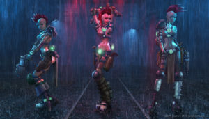 3 Cyberpunk women in the rain