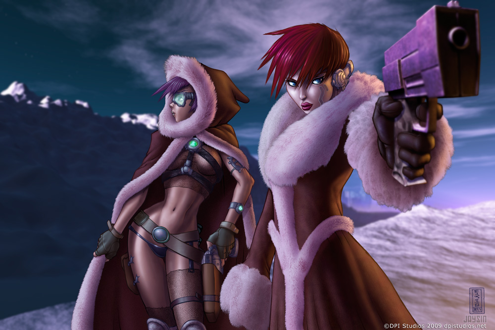 Amigos, two cyberpunk ladies in a winter landscape.