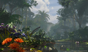 A 3D jungle landscape with a Hunter cloaked in the background.